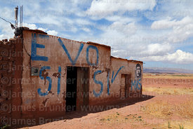 EVO SI / YES painted on wall of house, Tiwanaku, La Paz Department, Bolivia
