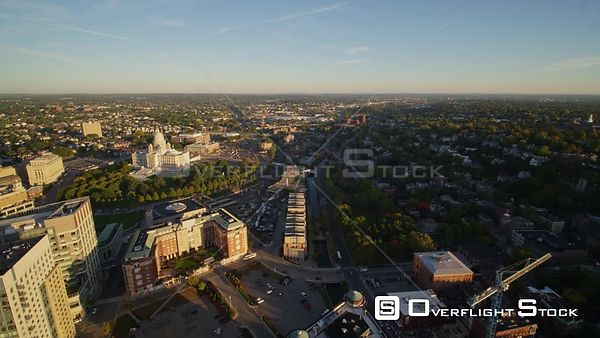 Providence Rhode Island Ascending birdseye over Capitol building area at sunrise