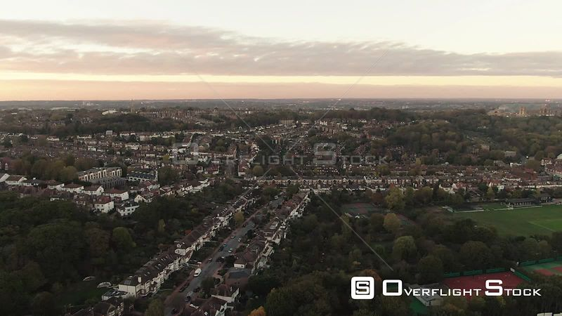 Typical Edwardian Village in North London at Sunset England