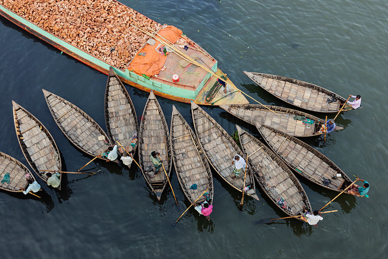 Small Boats Called Dingi Nouka acting as Water Taxis on the Buriganga River in Dhaka