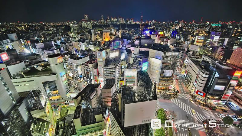 Tokyo  Japan HDR Tokyo cityscape time lapse over Shibuya at night.