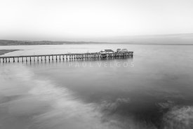 Capitola Wharf Pier Black and White Photo