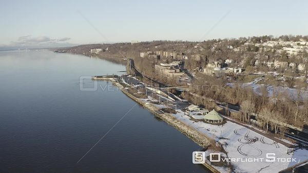 Winter in Yonkers New York Drone Aerial View