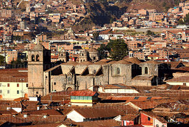 Rooftop view of San Francisco church, Cusco, Peru