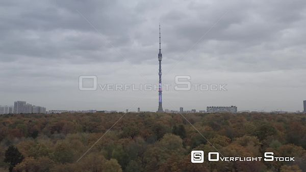 Moscow Teletower at Ostankino Circle Flight Over the Autumn Park, Lower Altitude. Moscow Russia Drone Video View