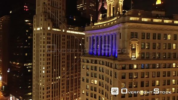 Historic Hotel and Balcony Nighttime Chicago Illinois Drone Aerial View