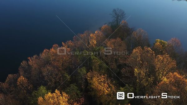 BackLit Fall Colors on a Lake Peninsula, Owings Mills, Maryland, USA