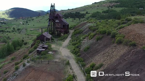 Gold mine shaft mast head and ore processing building, Victor, Colorado, USA