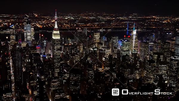 Midtown Manhattan NYC Night from a Helicopter