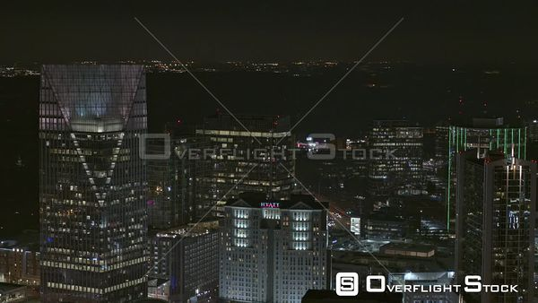 Atlanta Slow to quick panoramic of downtown Buckhead cityscape at night