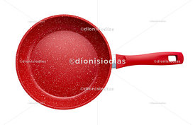 Isolated red kitchen frying pan