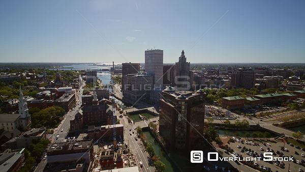 Providence Rhode Island Panning to reverse downtown cityscape moving toward Capitol lawn with harbor view
