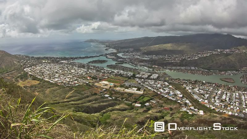 Ocean bay time lapse clip in Oahu shot from Koko head crater with cloudscape.  Hawaii