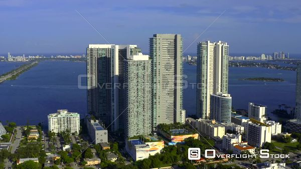 Paraiso District Miami Modern Highrise Towers on Biscayne Bay Aerial Drone Video