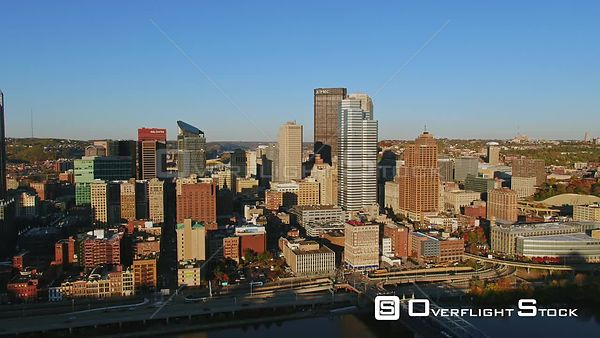 Pittsburgh Pennsylvania Panning around downtown skyline cityscape