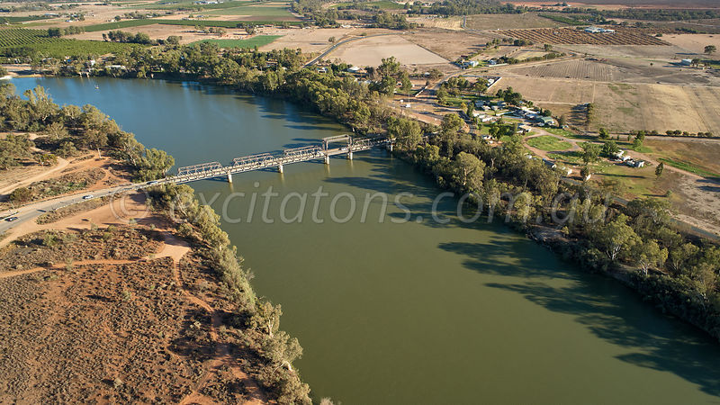 Aerial of Abbotsford Bridge, Curlwaa, NSW, Australia.