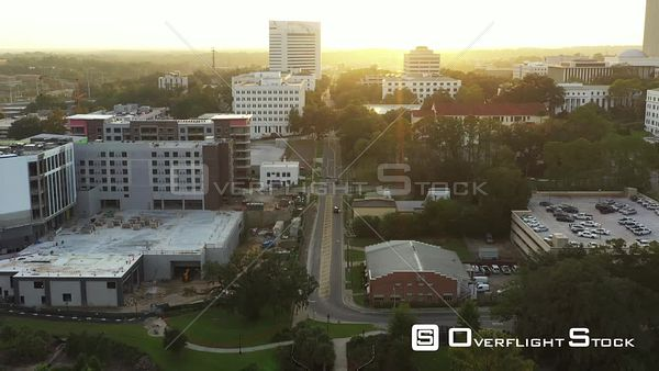 Aerial drone video sunset behind Downtown Tallahassee FL USA