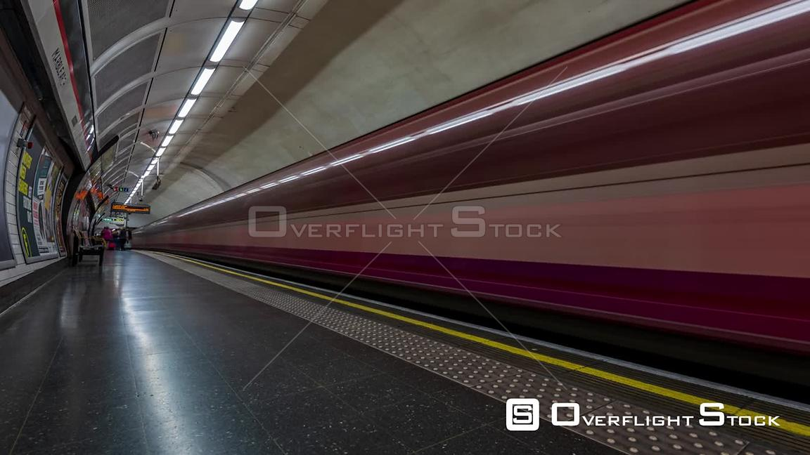 Timelapse view of people boarding the London underground (tube)
