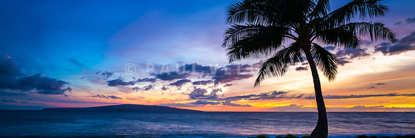 Maui Hawaii Wailea Sunset Panoramic Photo