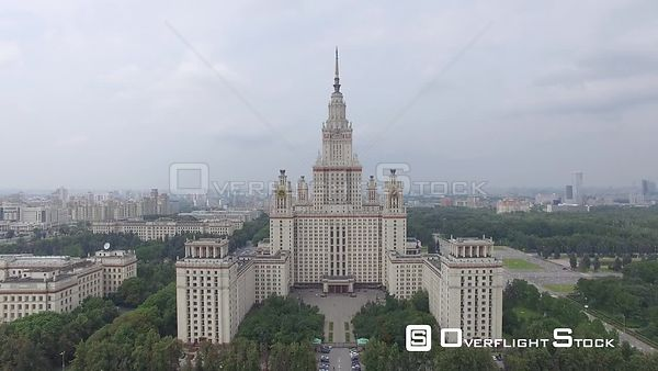 Moscow State University Ascending Flight. Moscow Russia Drone Video View