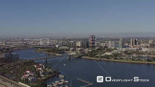 Long Beach CA full downtown 360, port cityscape panoramic
