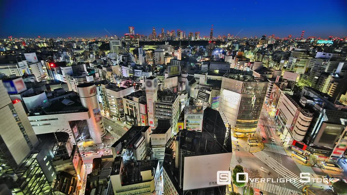 Tokyo  Japan HDR Tokyo cityscape time lapse over Shibuya at night into morning.