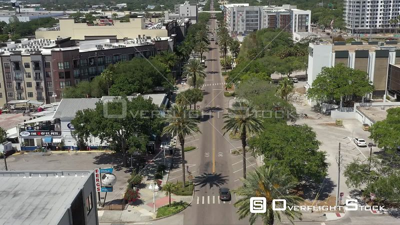 Aerial Footage Downtown St. Petersburg Florida Covid 19 Empty Central Avenue