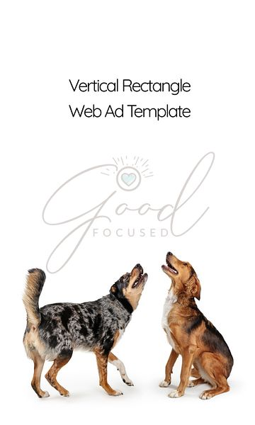 Dogs Looking Up Into Vertical Web Ad