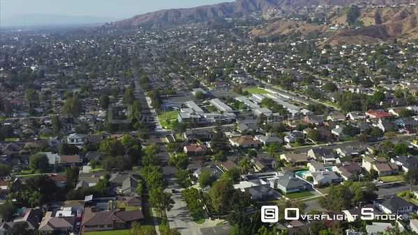 Residential Homes Drone Aerial View in Burbank California