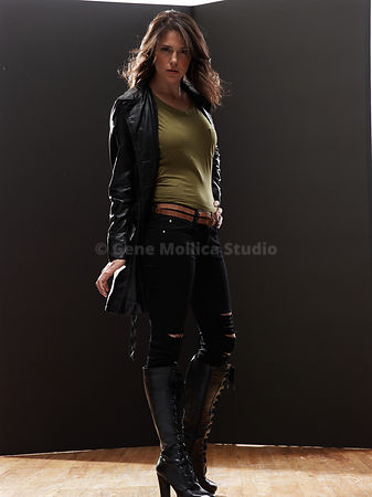 Women in an urban environment,  leather jacket