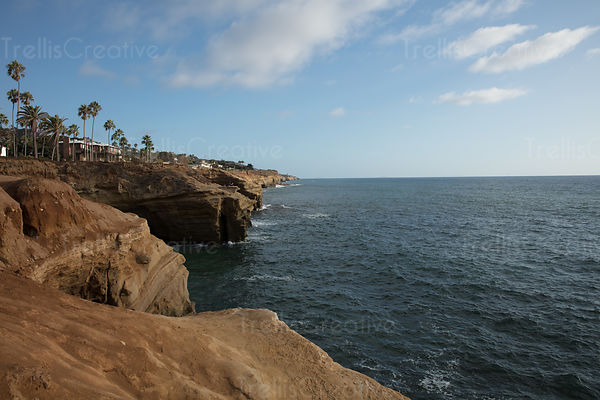 Rugged coastline by Sunset Cliffs Park, Point Loma, Ocean Beach, San Diego, California, USA.