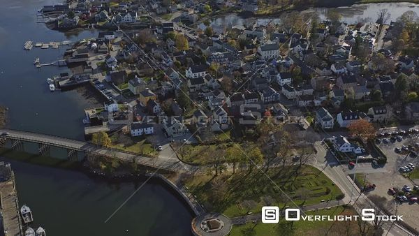 Portsmouth New Hampshire Panoramic birdseye to wide, from residential to downtown cityscape to looking toward Maine