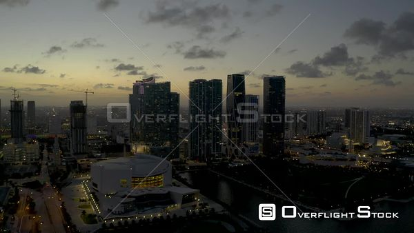 Downtown Miami Night Footage Travel Destination Skyscrapers