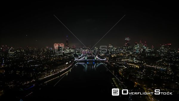 Drone Video Cityscape Night Fireworks Celebration London England