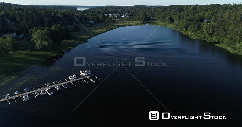 Aerial View With a Downards Tilt Over a Small Boat Harbor, Sigtuna Sweden