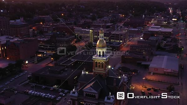 Top of the Courthouse at Dusk, Dubuque, Iowa, USA