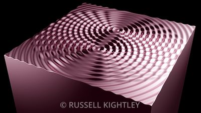TWO CIRCULAR WAVES INTERFERING 3D Rose Gold