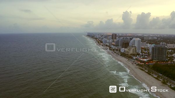 Flying Over Atlantic Ocean by Coastline Fort Lauderdale Beach Florida Usa