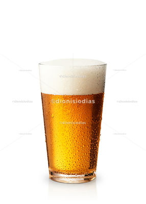Straight cup with craft beer Ipa on white background