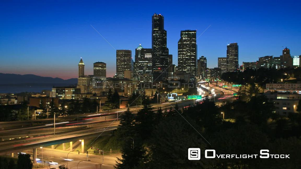 Seattle Washington State USA Seattle cityscape time lapse at night with I5 traffic.