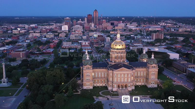 Sunrise, State Capital Building and Downtown, Des Moines, Iowa, USA
