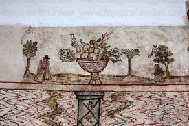 Detail of fresco inside the Nazarenas Palace, Cusco, Peru