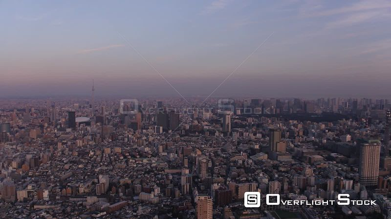 Japan Tokyo Aerial Birdseye view flying low over famous Shinjuku area night