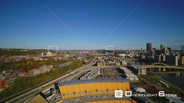 Pittsburgh Pennsylvania North shore cityscape fly through with stadiums