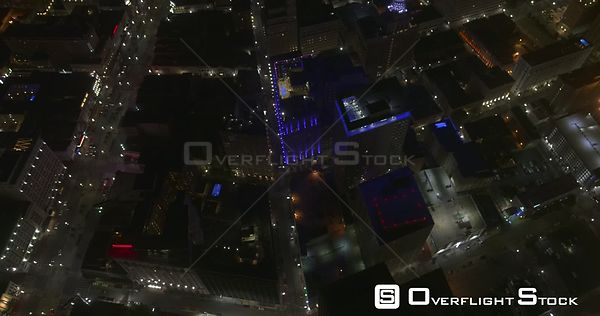 New Orleans Louisiana Aerial Vertical to reverse panning of downtown at night
