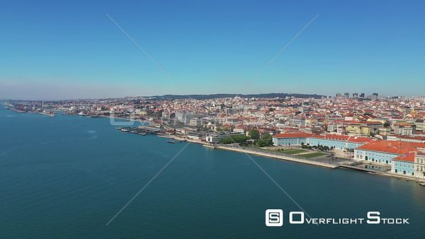 Lisbon City, Over Tagus River ,in Lisbon, Empty Streets, During Covid-19 Pandemic, on a Sunny Day, Portugal