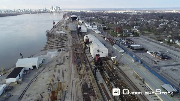 Industrial Zone Port of Jeffersonville Indiana Drone Aerial View