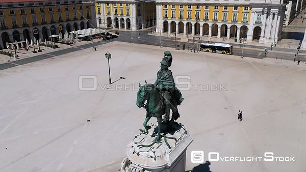 D. José I Statue, Terreiro Do Paco, in Lisbon, Empty Streets, During Covid-19 Pandemic, on a Sunny Day, Portugal