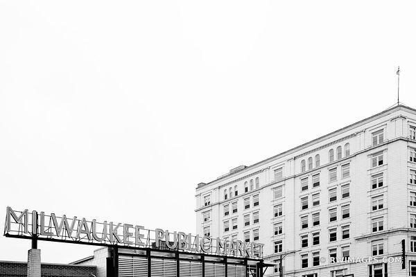 MILWAUKEE PUBLIC MARKET HISTORIC THIRD WARD DOWNTOWN MILWAUKEE WISCONSIN BLACK AND WHITE