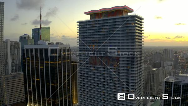 Downtown Miami Business District Beauty Aerials at Sunset